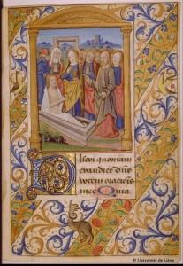 Résurrection de Lazare -Livre d'heure du XIV XV e siècle- Liège- ms Wittert-